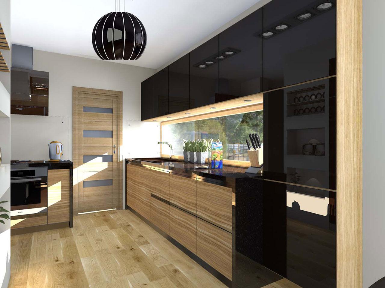 Kuchnia w odcieniu szarości z akcentem koloru drewna   -> Kuchnia Lakierowana I Drewno