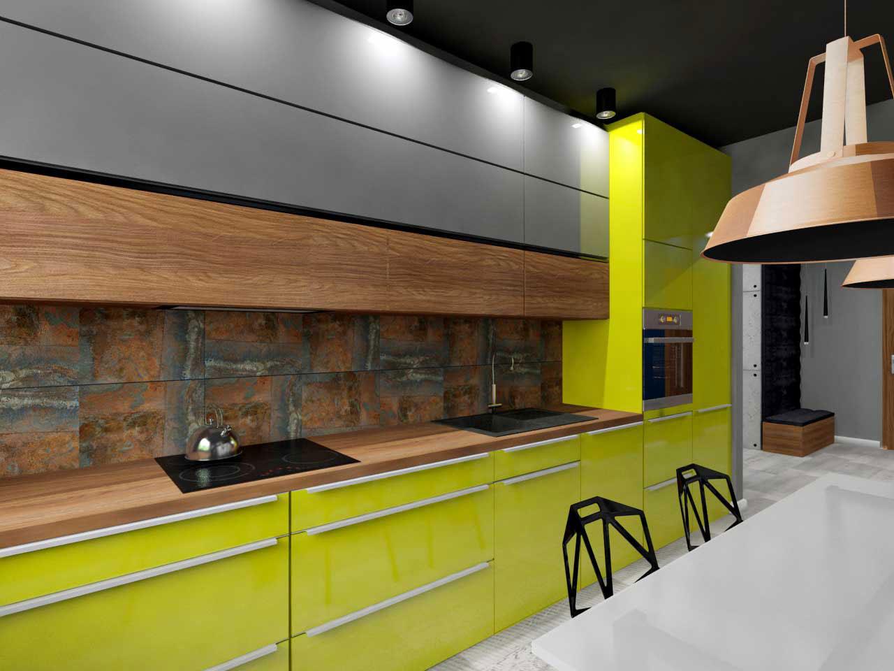 Kuchnia w odcieniu szarości z akcentem koloru drewna  Mobiliani Bydgoszcz