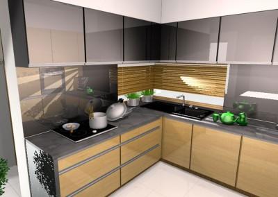 Kuchnia w odcieniu szarości z akcentem koloru drewna