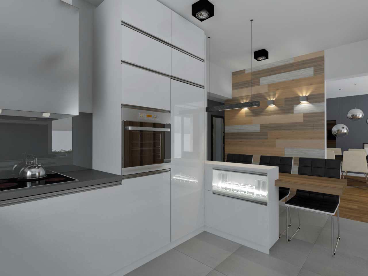 Kuchnia zbudowana w szarości oraz bieli  Mobiliani Bydgoszcz -> Kuchnia W Bloku W Bieli