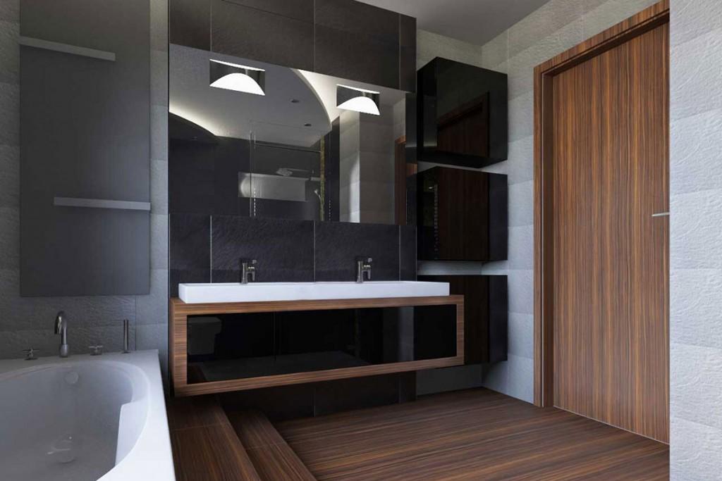Łazienka w czerni,zieleni i brązie