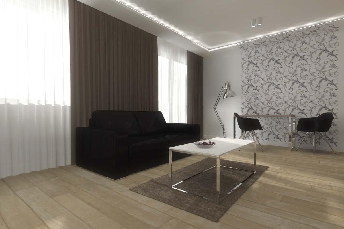 Widok na wnętrze w mieszkaniu pokazowym