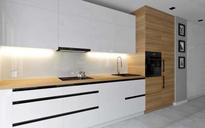 Meble do kuchni na wymiar w pasach i kontrastach