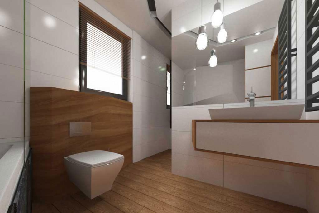 Designerska łazienka w bieli i jasnym brązie