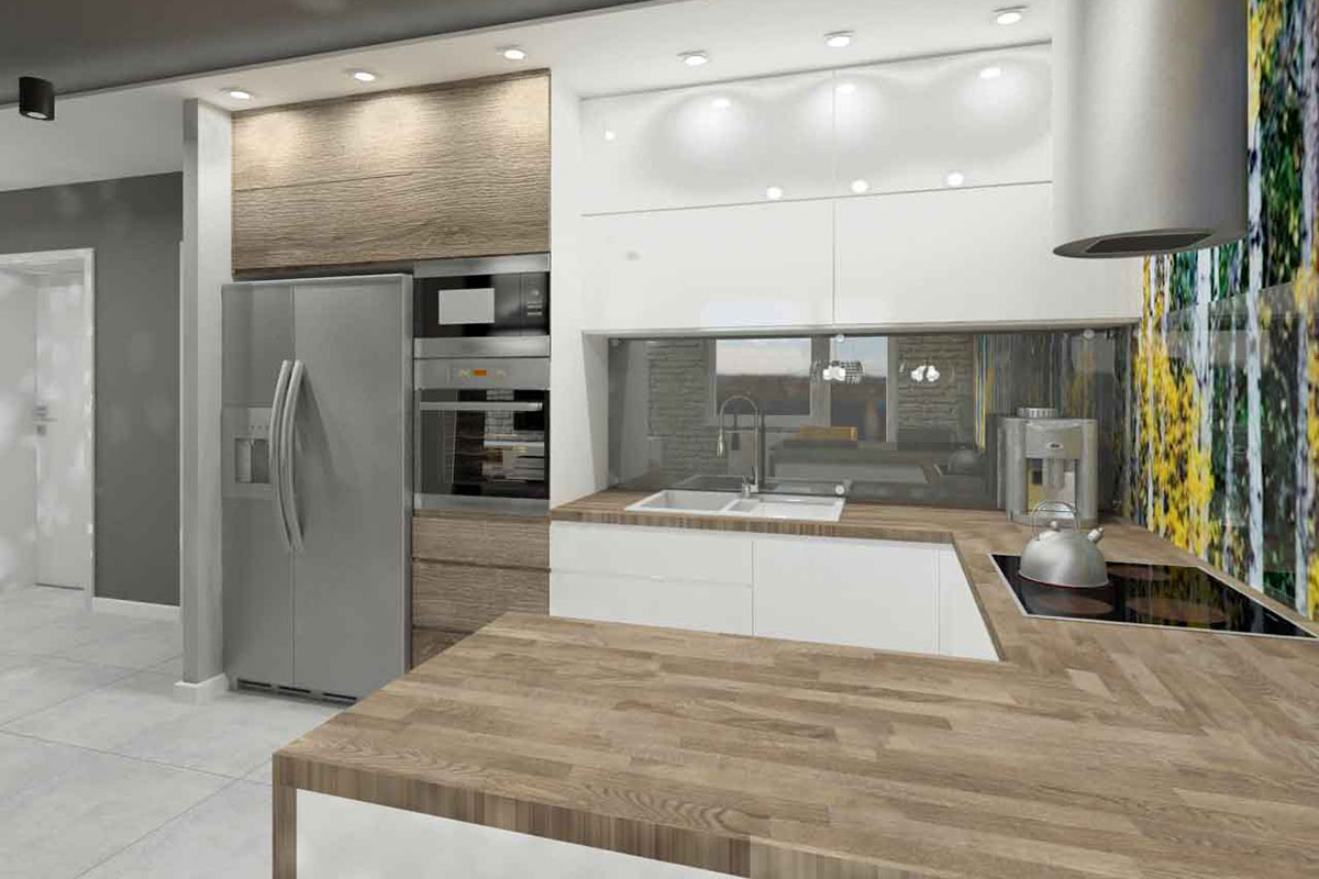 Efektowna Kuchnia W Blasku świateł Podświetlenia I