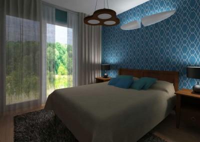 Projekt romantycznej sypialni z błękitną ścianą