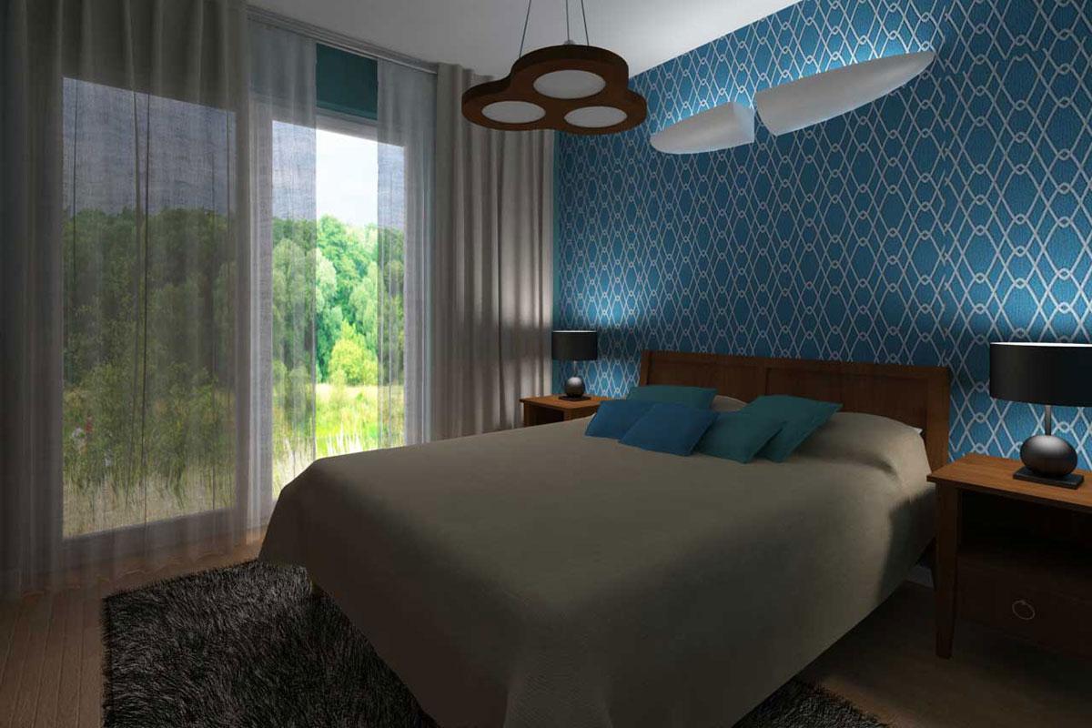 Projekt Romantycznej Sypialni Z Błękitną ścianą Mobiliani