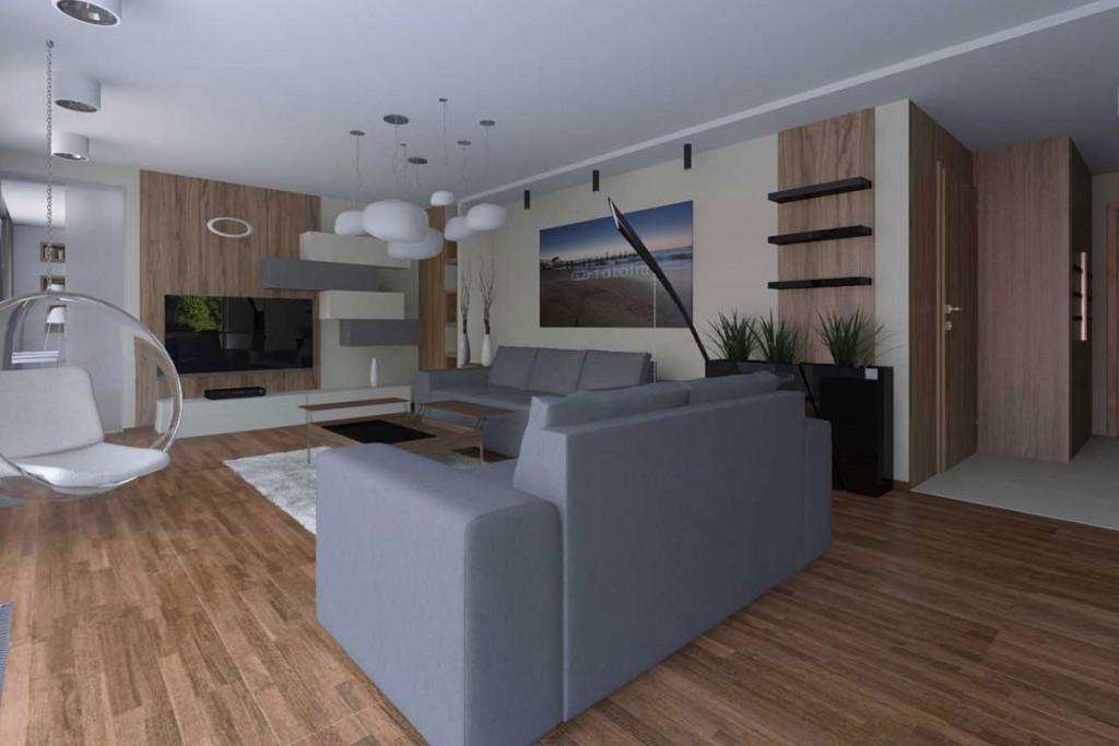 Projekt wnętrza salonu z wiszącym fotelem