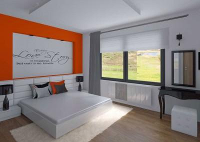 Sypialnia z akcentem pomarańczu
