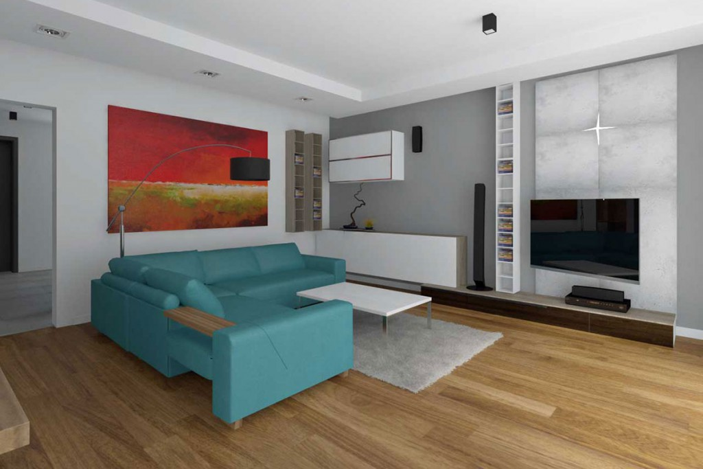 Projekt salonu z turkusową kanapą