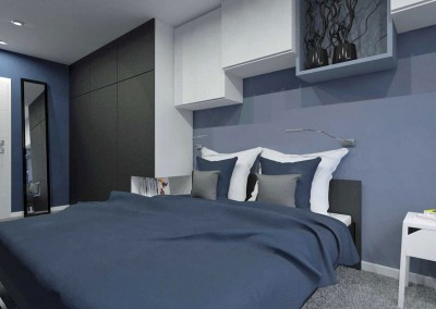 Projekt sypialni w barwach granatu