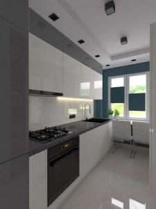 Kuchnia w bieli z turkusem
