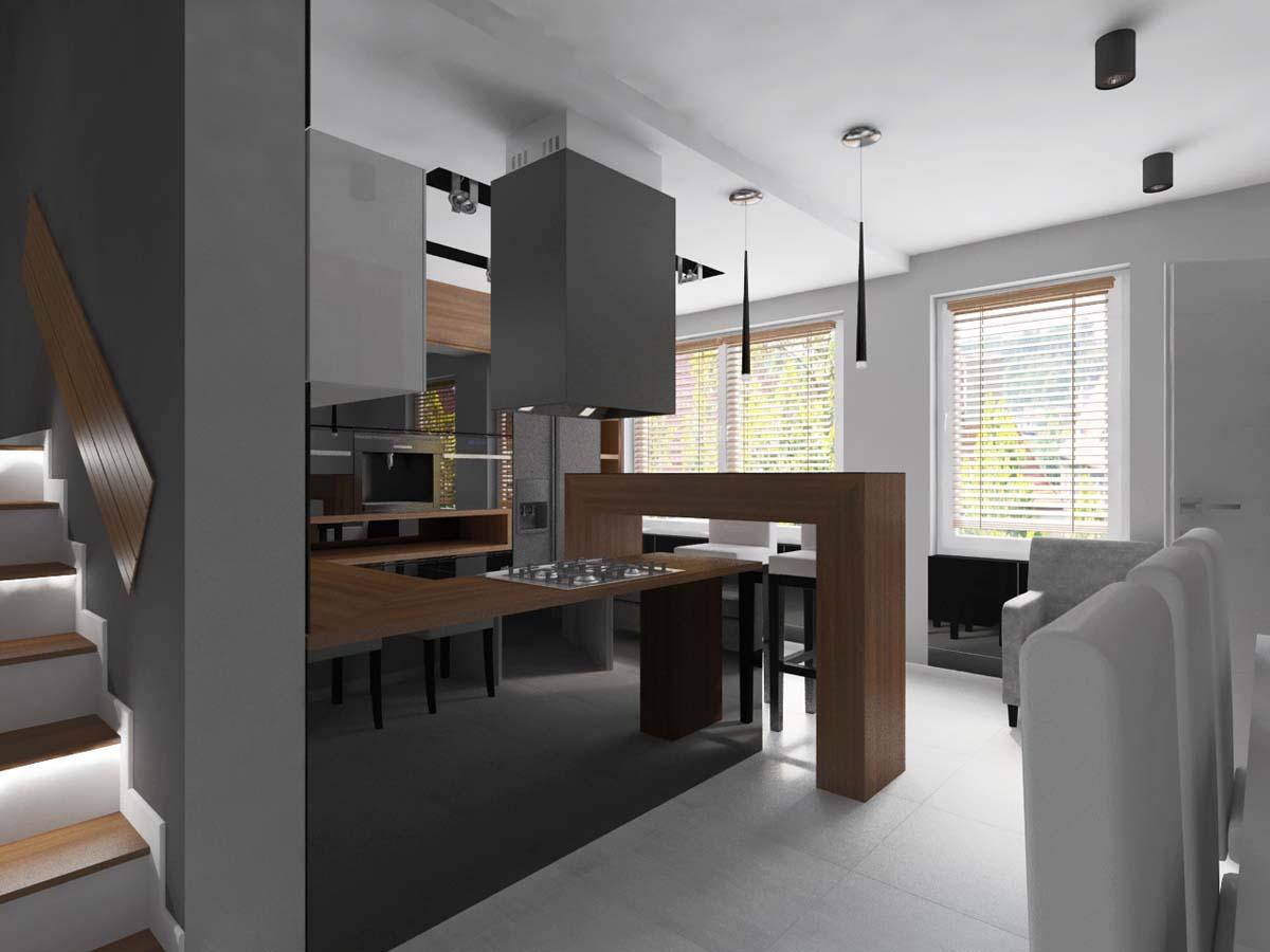 Nowoczesna kuchnia w bieli z szarością oraz kolorem drewna