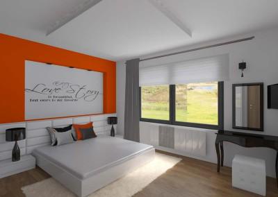 Sypialnia w pomarańczowym designie