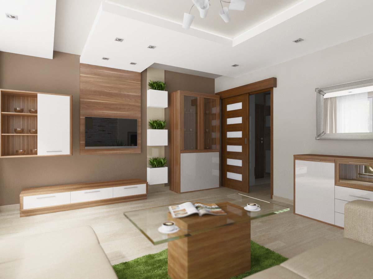Salon Z Domieszką Koloru Naturalnego Drewna Mobiliani