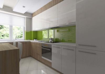 Kuchnia w beżu, bieli i zieleni