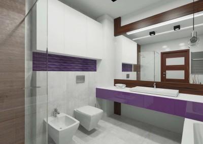 Biała łazienka z dodatkiem fioletu