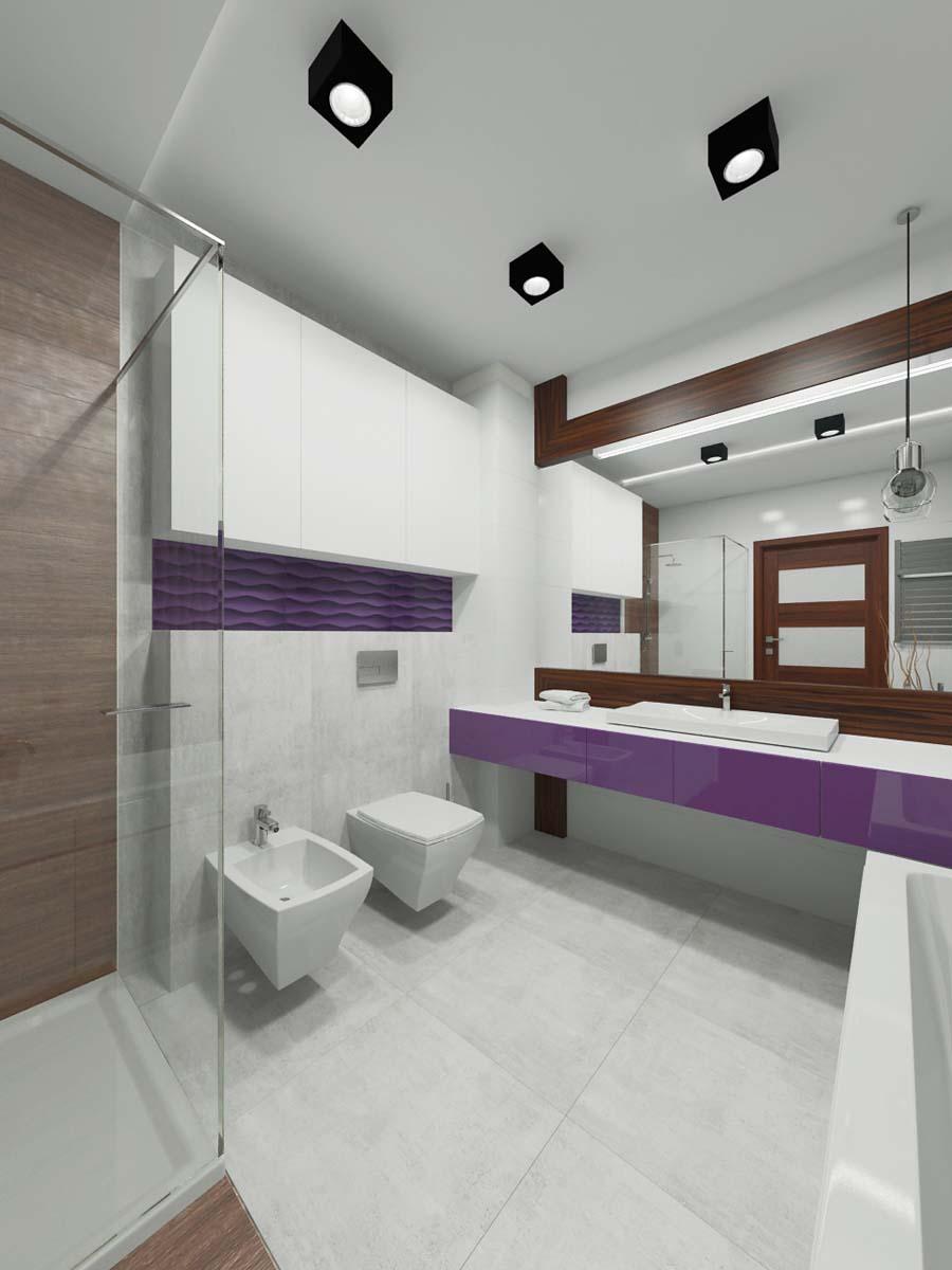 Biała łazienka Z Dodatkiem Fioletu Mobiliani Bydgoszcz