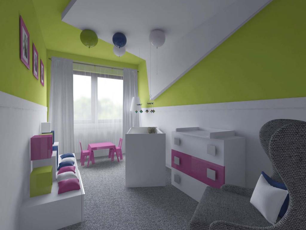 Projekt pokoju dziecięcego w intensywnym różu