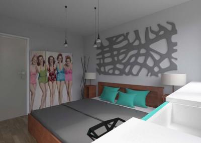 Sypialnia z delikatną zielenią