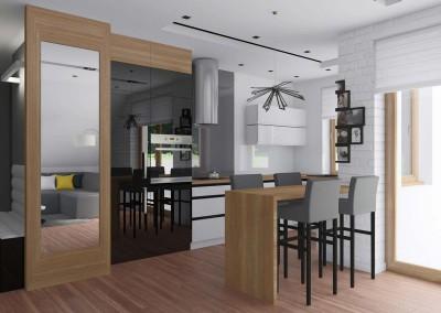 Nowoczesna kuchnia połączona z salonem – Lake Resident