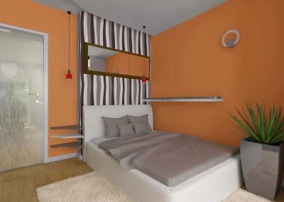 Sypialnia w subtelnym pomarańczu
