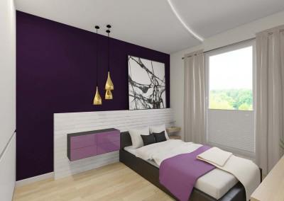 Sypialnia w fioletach