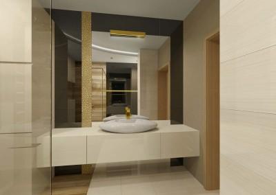 Luksusowa łazienka w kremowej bieli i brązie