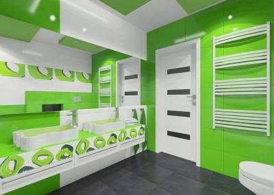 Łazienka w trawiastej zieleni