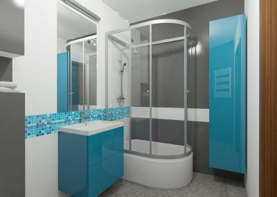 Łazienka w niebiesko – białych tonach