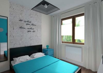 Sypialnia w błękicie z bielą