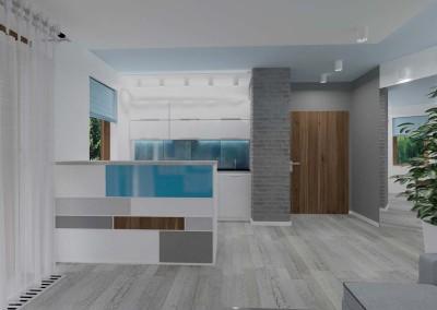 Nowoczesna, minimalistyczna kuchnia z błękitem