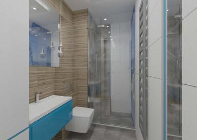 Łazienka w kolorze drewna i błękitu