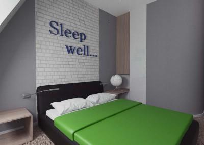 Sypialnia w szarości oraz zieleni