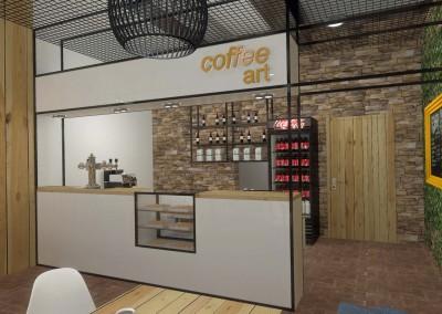 Meble w projekcie wnętrza kawiarni Coffe Shop
