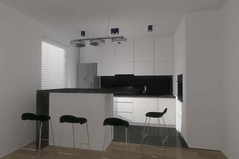 Projekt kuchni w bieli połączonej z czernią