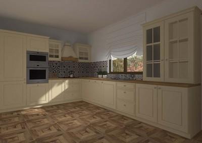 Projekt kuchni w klasycznym stylu w neutralnej kolorystyce