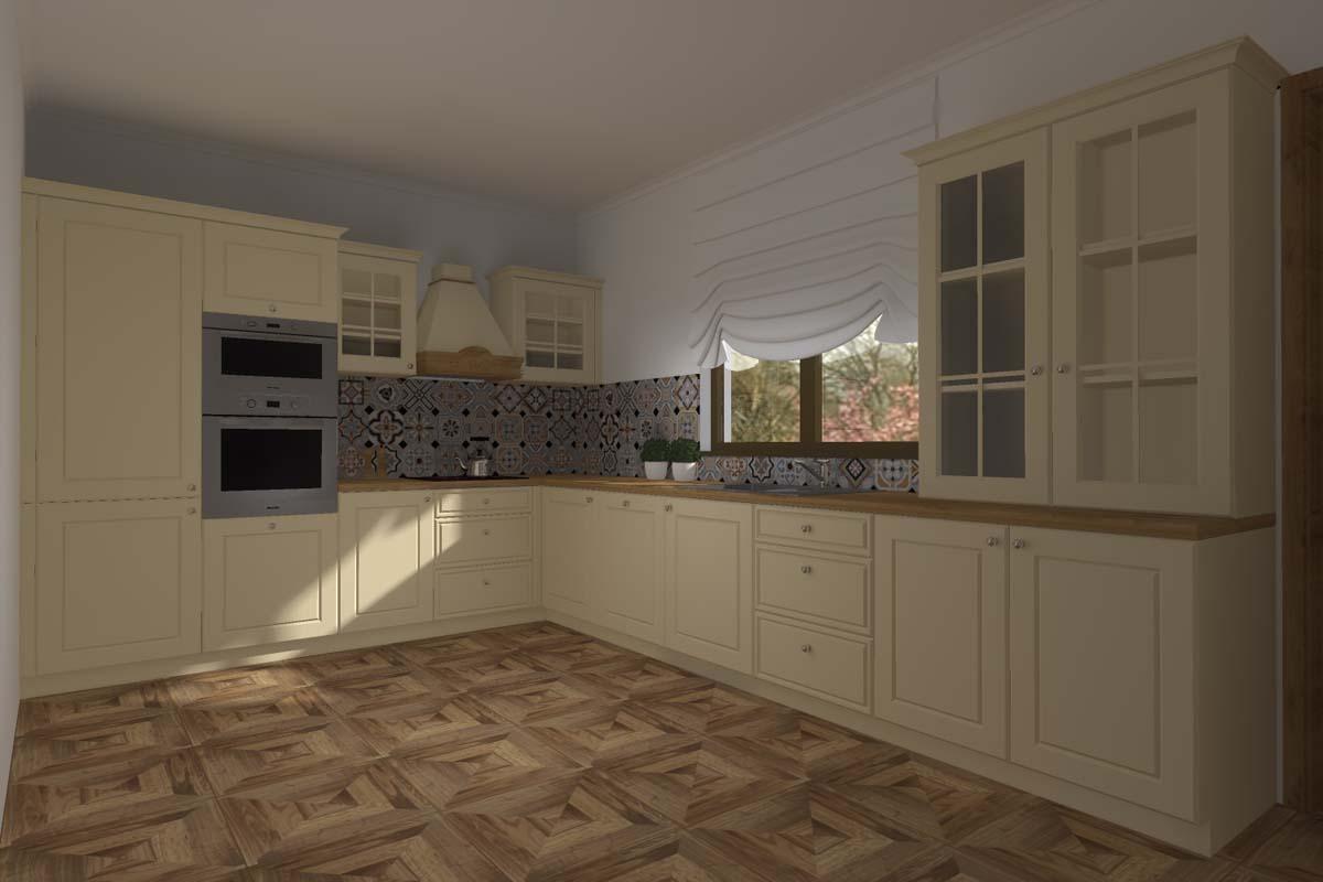 Projekt kuchni w klasycznym stylu w neutralnej kolorystyce  Mobiliani Bydgoszcz
