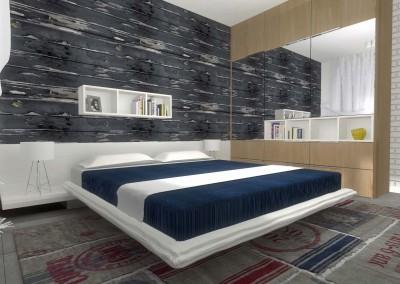 Sypialnia w apartamencie o morskim zabarwieniu
