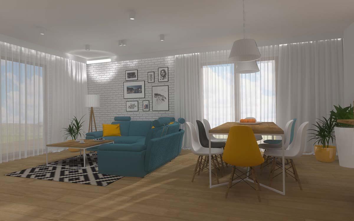 Projekt salonu otwartego na kuchnie w modowych barwach - Mobiliani Bydgoszcz