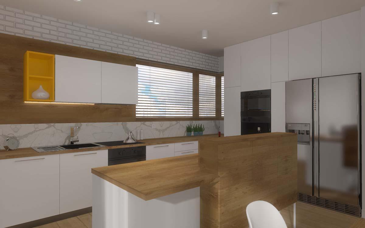 projekt salonu otwartego na kuchnie w modowych barwach
