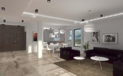 Projekt eleganckiej kuchni otwartej na salon