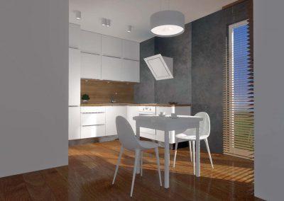 Kuchnia z betonową ścianą